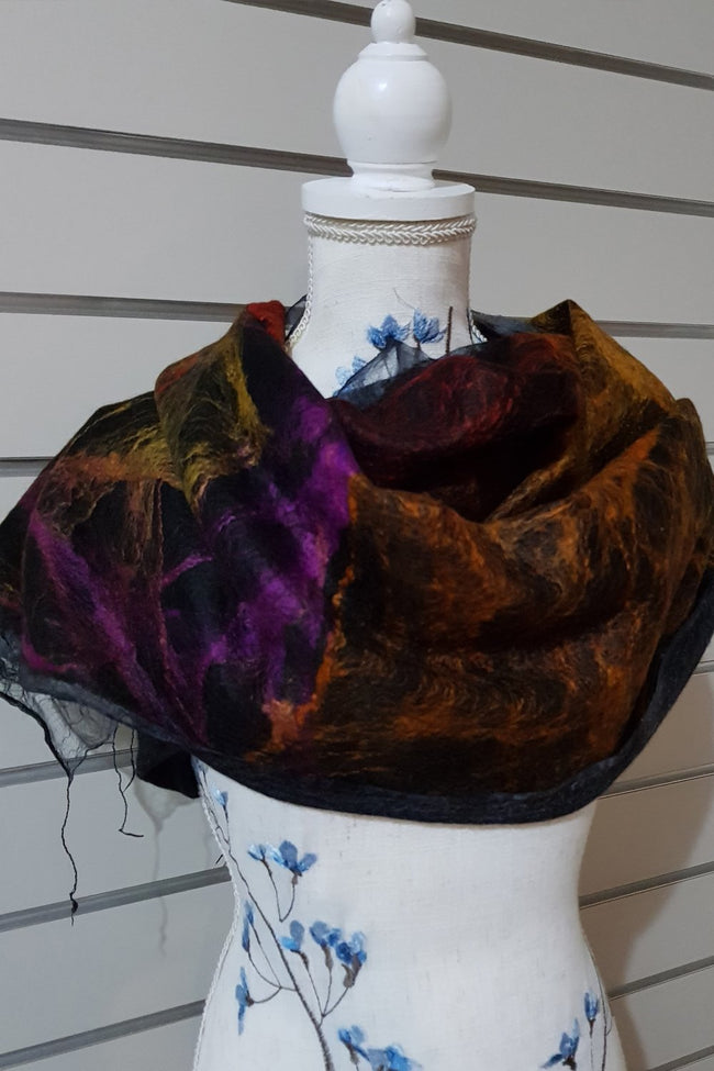 Paj Nuno Felted Alpaca Silk Coloured Scarf - Multi