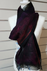 Narrow Nuno Felted Alpaca Silk Scarves - Orange and Purple