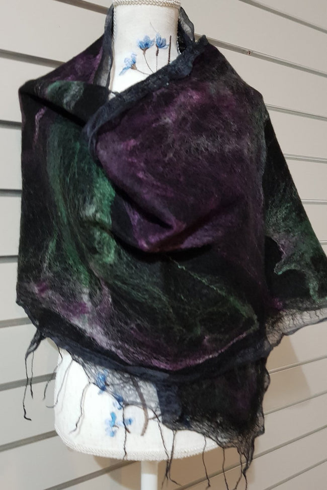 Paj Nuno Felted Alpaca Silk Coloured Scarf - Purple and Green
