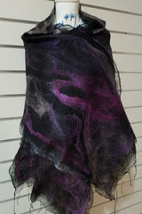 Paj Nuno Felted Alpaca Silk Coloured Scarf - Purples