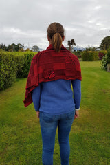 The back of the Red Black Royal Alpaca and Merino Textured Wrap