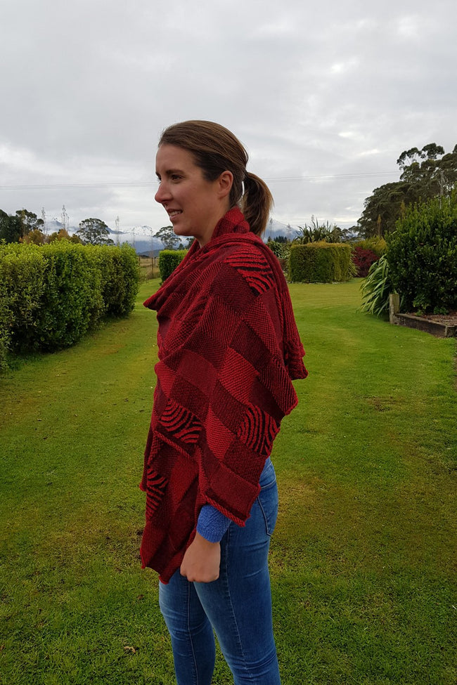 Side view of the Red Black Royal Alpaca and Merino Textured Wrap