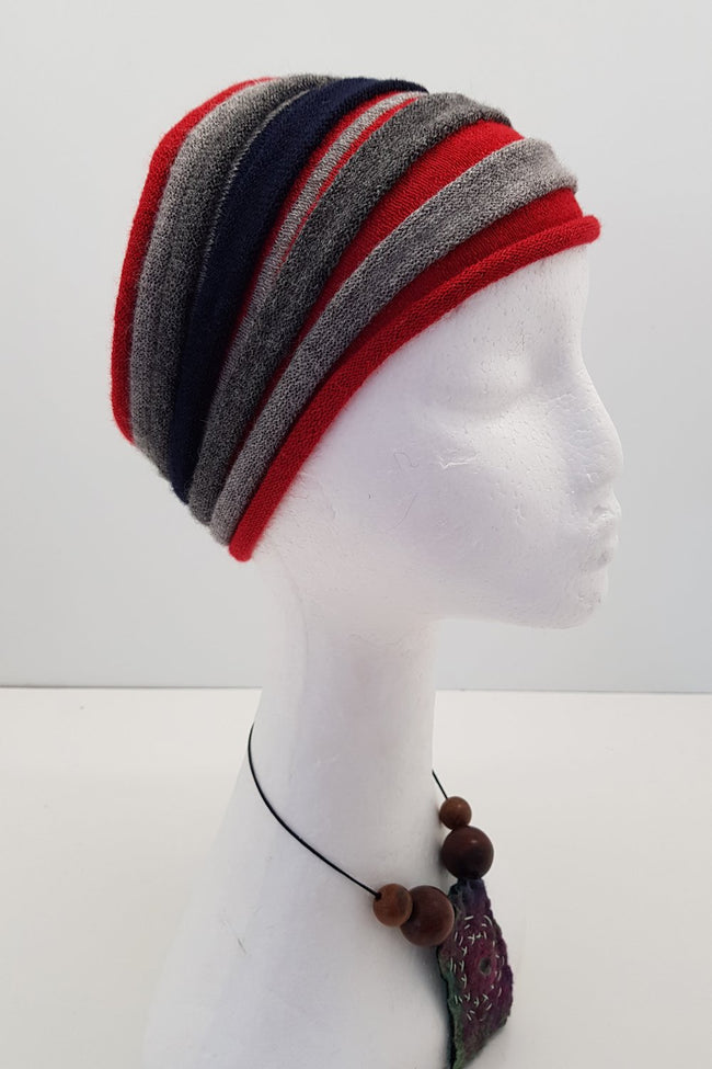 New Zealand made Alpaca Headbands - Red Stripe