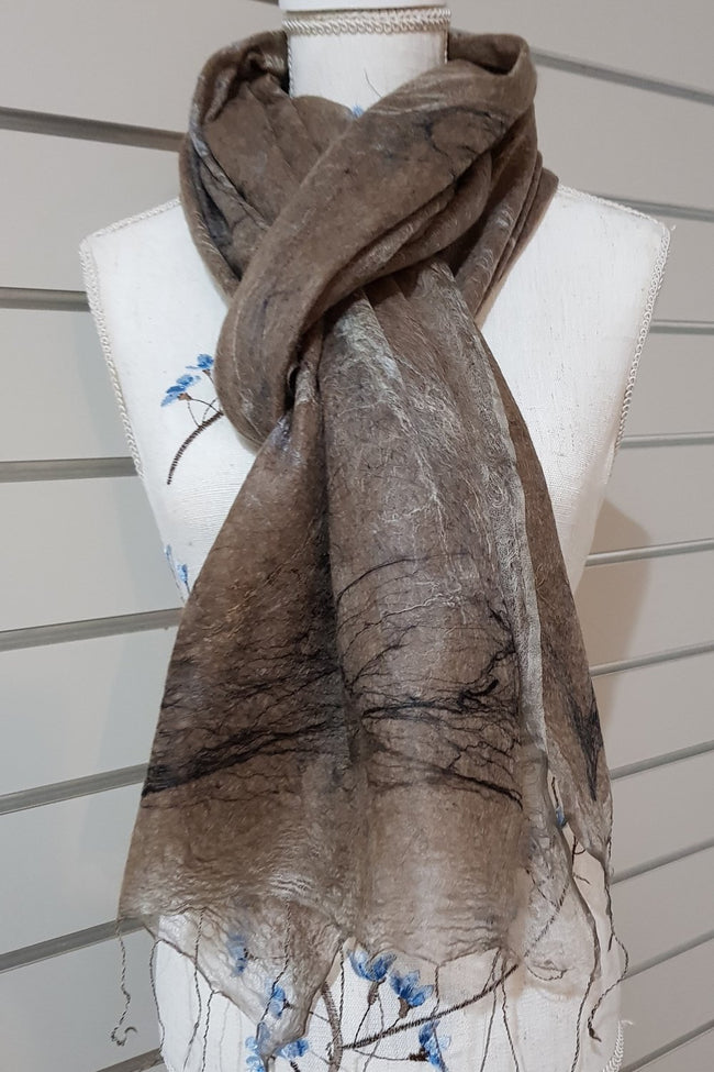 Paj Nuno Felted Alpaca Silk Coloured Scarf - Rose Grey