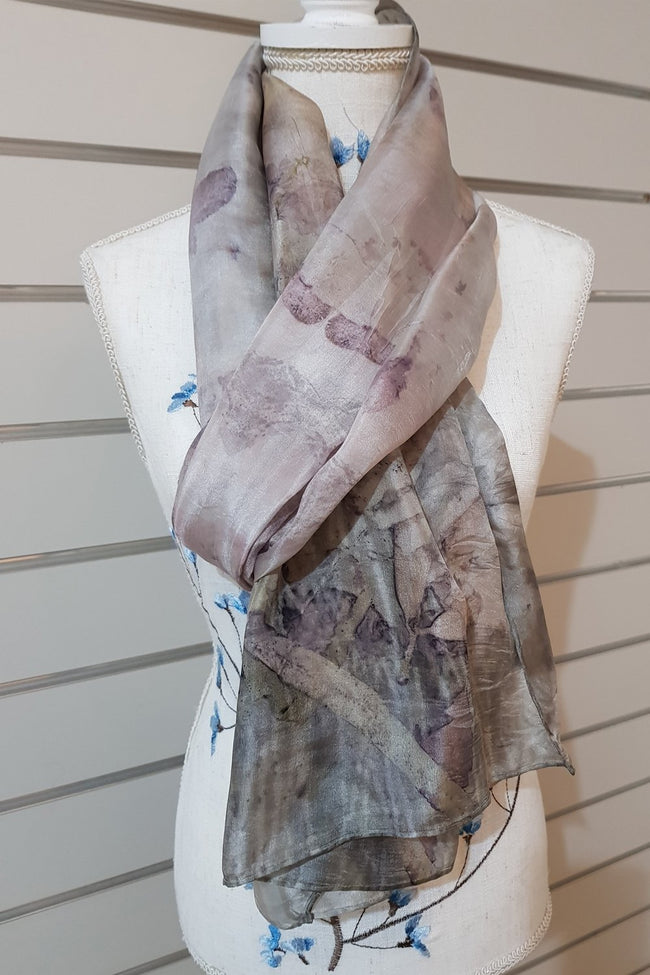 Eco Print Paj Silk Scarves - Soft Cool