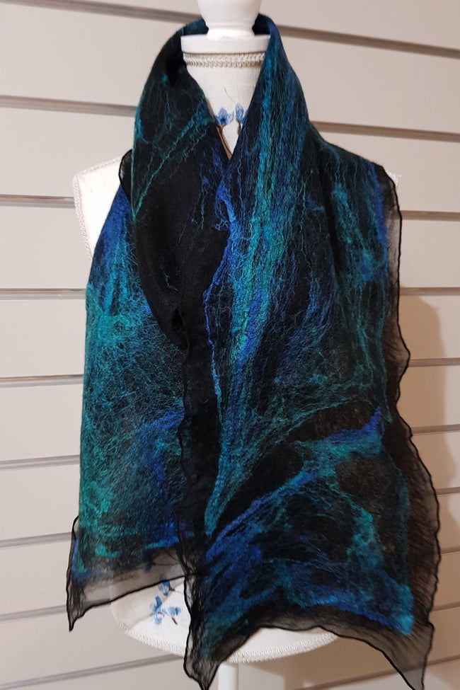 Narrow Nuno Felted Alpaca Silk Scarves - Southern Seas