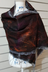 Paj Nuno Felted Alpaca Silk Coloured Scarf - Tamarillo
