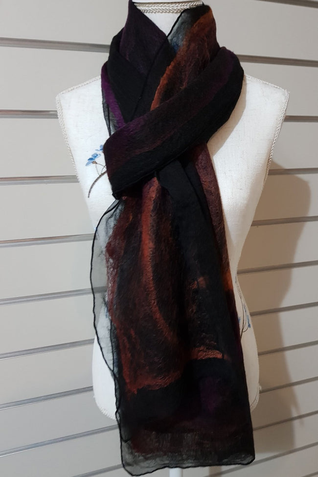 Narrow Nuno Felted Alpaca Silk Scarves - Tamarillo