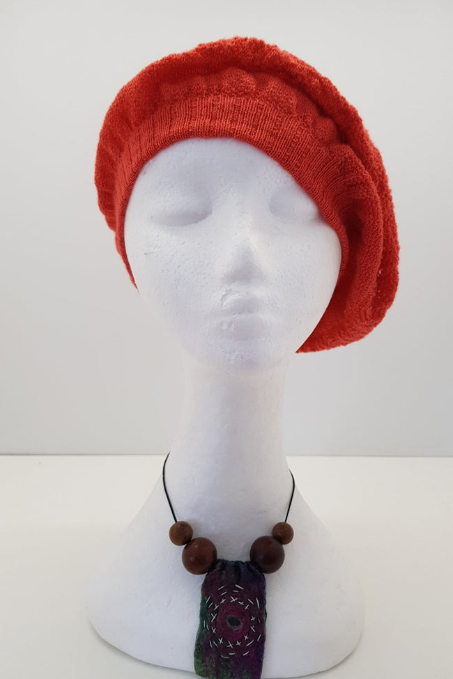 New Zealand made Alpaca Beret - Tangerine