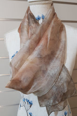 Eco Print Paj Silk Scarves - Warm