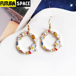 CARTOON SPACE EARRINGS - 1 - 200000168