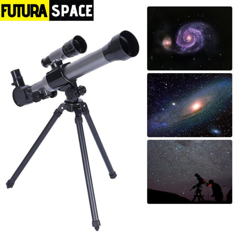 Monocular Astronomical Telescope With Tripod - Black -