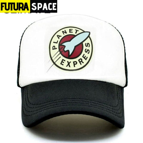 PLANET EXPRESS TRUCKER CAP - Black White / Fits 55to58cm