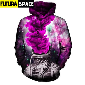 PURPLE SPACE HOODIE - SMOKING ASTRONAUT - 200000344