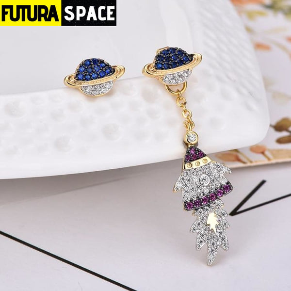SPACE CUBIC EARRINGS - silver - 200000168