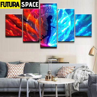 SPACE PAINTING - 5 Panel Sci Fi Landscape - 1704