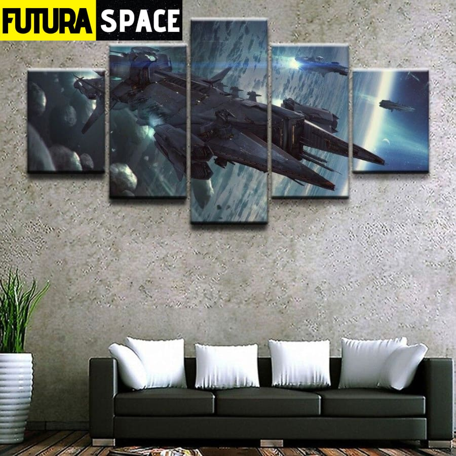 SPACE PAINTING - 5 Panel Spaceship Game - 1704
