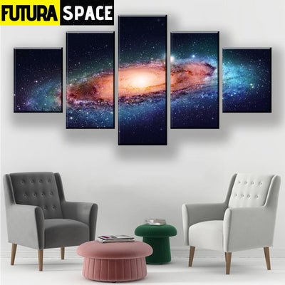 SPACE PAINTING - 5 Piece Galaxy Canvas - 1704