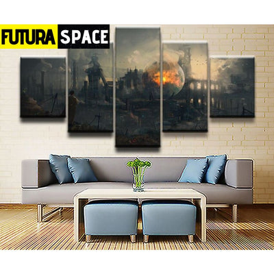 SPACE PAINTING - 5 Pieces Sci Fi Landscape - 1704