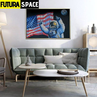 SPACE PAINTING - American Astronaut - 1704