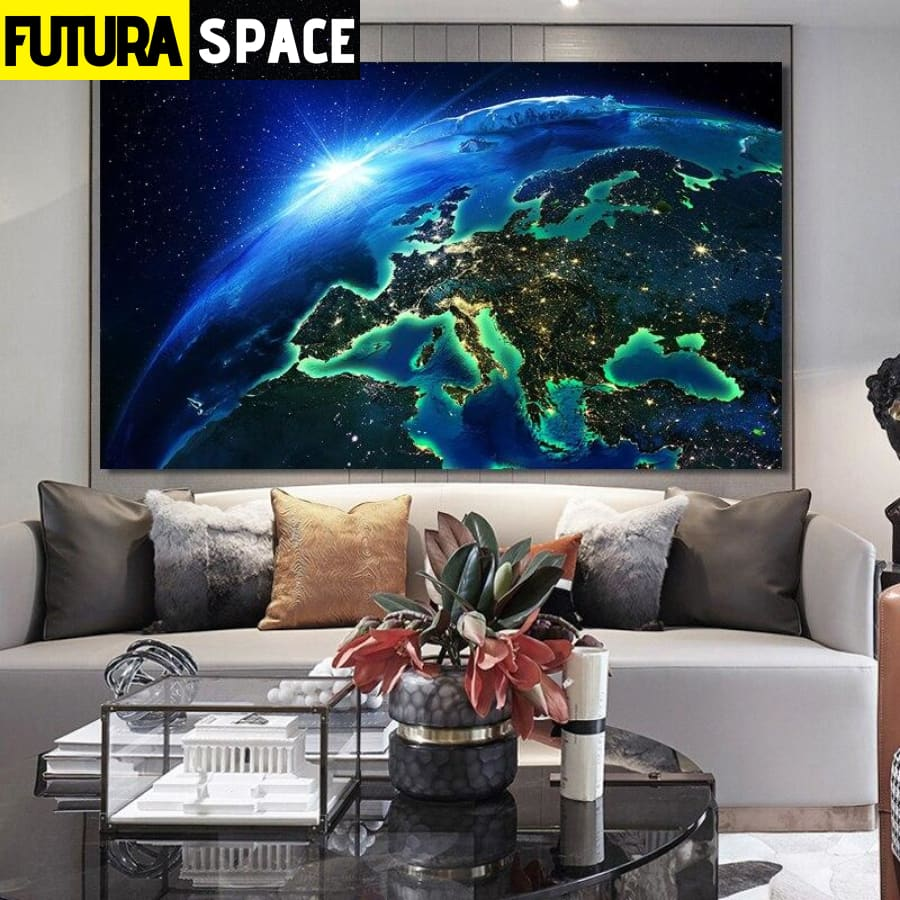 SPACE PAINTING - Earth Night Scene - 1704