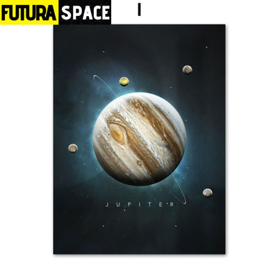 SPACE PAINTING - PLANET WALL ART - 13X18 cm No Framed / I -