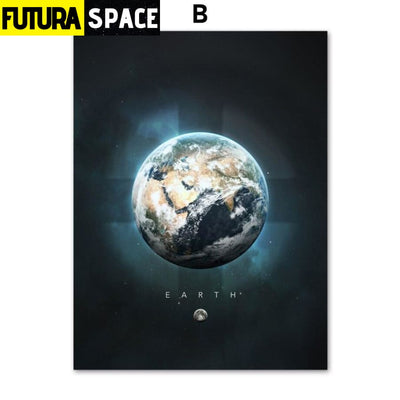SPACE PAINTING - PLANET WALL ART - 13X18 cm No Framed / B -