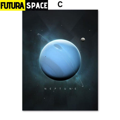SPACE PAINTING - PLANET WALL ART - 13X18 cm No Framed / C -
