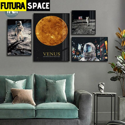 SPACE PAINTING - Sci-fi Space Earth Astronaut - 1704
