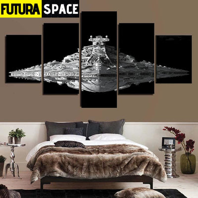 SPACE PAINTING - SPACESHIP WALL ART - 1704
