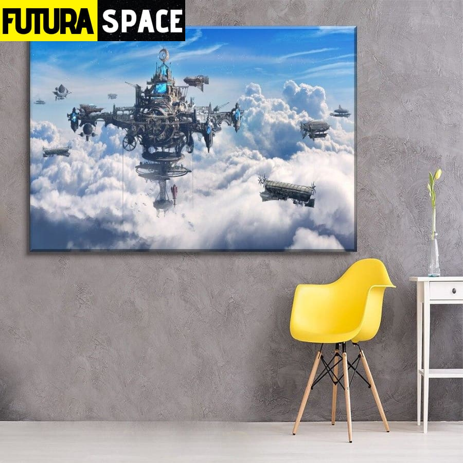 SPACE PAINTING - Steampunk City And Airship - 1704