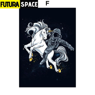 SPACE POSTER - Astronaut Spaceman - 13X18 cm No Framed / F -