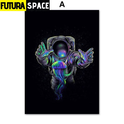 SPACE POSTER - Astronaut Spaceman - 13X18 cm No Framed / A -