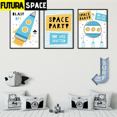SPACE POSTER - Cartoon Space Rocket - 1704