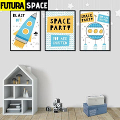 SPACE POSTER - Cartoon Space Rocket