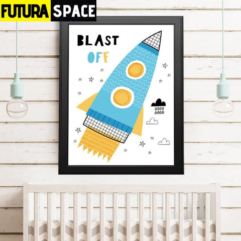 SPACE POSTER - Cartoon Space Rocket - 15x20 cm No Frame / 1