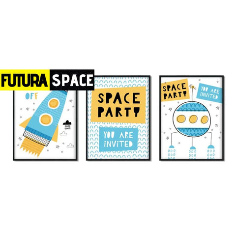 SPACE POSTER - Cartoon Space Rocket - 15x20 cm No Frame / 3