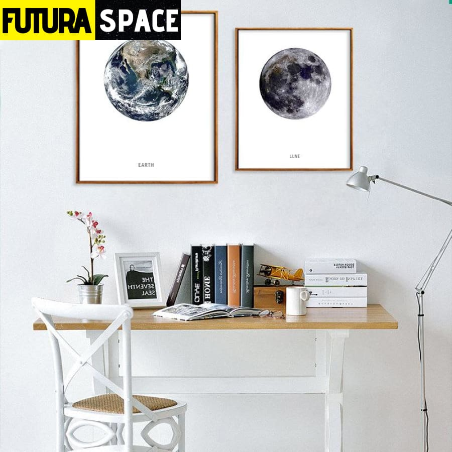 SPACE POSTER - Earth- Moon - 1704