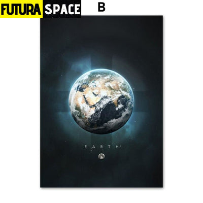SPACE POSTER - Planet Canvas - 13X18 cm No Framed / B - 1704