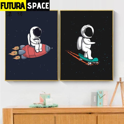 SPACE POSTER - Rocket Wall Art - 13X18cm No Frame / two