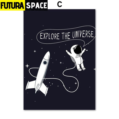 SPACE POSTER - Rocket&Spaceman theme - 13X18 cm No Framed /