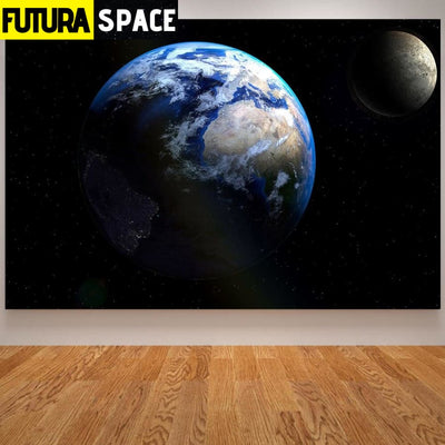SPACE POSTER - Solar System& Space - 10x15 CM Unframed / Red