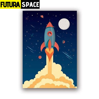 SPACE POSTER - Spaceship Illustration - 13x18 cm No Frame /