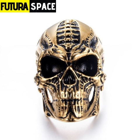 SPACE RING - ALIEN SKULL - 7 / Gold - 100007323