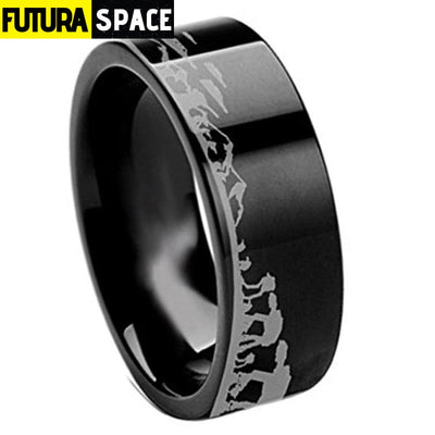 SPACE RING - BATTLE OF THE HOTH - 6 / BLACK / 8MM -