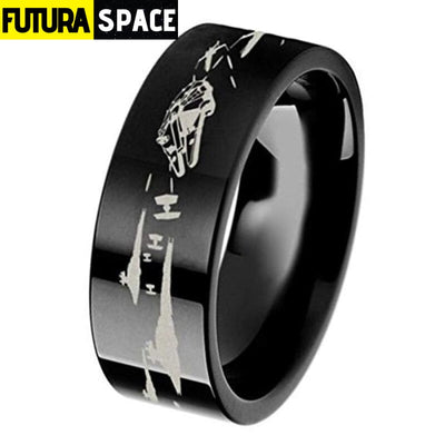 SPACE RING - BATTLE OF THE HOTH - 6 / BLACK 2 / 8MM -