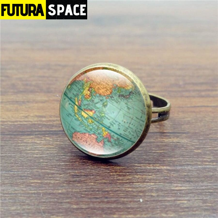 SPACE RING - EARTH - WORLD MAP - Resizable / S4718 -