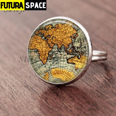 SPACE RING - PLANET EARTH - Resizable / silver 5 - 100007323