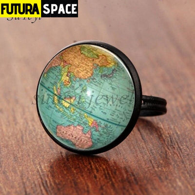 SPACE RING - PLANET EARTH - Resizable / black - 100007323