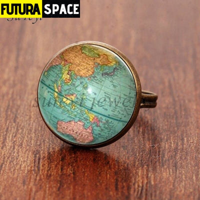 SPACE RING - PLANET EARTH - Resizable / bronze - 100007323